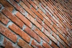 Rode bakstenen muurtextuur in perspectiefmening Stock Afbeelding