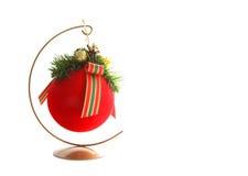 Rode bal die op wit wordt geïsoleerdn Stock Fotografie