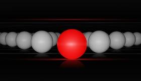 Rode bal en witte ballen Stock Afbeelding