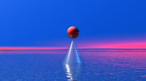 Rode bal op een kegel in vreedzaam landschap Royalty-vrije Stock Foto's