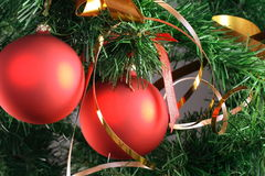 Rode ballen die van Kerstmisboom hangen Royalty-vrije Stock Foto