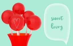 Rode ballen van lollys op stok in rode vaas op retro achtergrond met ondiepe DOF stock fotografie