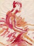 Rode ballerina, het trekken Stock Afbeelding