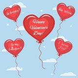Rode ballon vijf met de tekst van gelukwensen op de Dag van Valentine ` s in de hemel vector illustratie