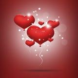 Rode ballonharten Royalty-vrije Stock Afbeelding