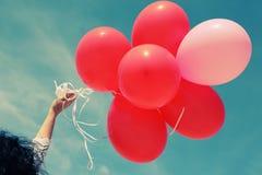 Rode Ballons Stock Foto's