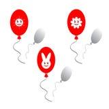 Rode ballons met grappige beelden Stock Afbeelding