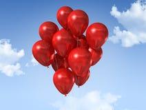 Rode ballons op een blauwe hemel royalty-vrije illustratie