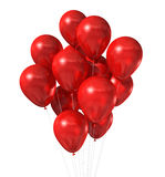 Rode ballonsgroep die op wit wordt geïsoleerds Royalty-vrije Stock Afbeelding