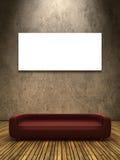 Rode bank op houten grond Royalty-vrije Stock Fotografie