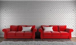 Rode banken en hoofdkussens, tapijt, houten vloer op lege bakstenen muur het 3d teruggeven royalty-vrije illustratie