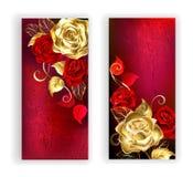 Rode banner twee met gouden rozen Stock Afbeeldingen
