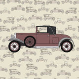 Rode beeldverhaal retro auto Royalty-vrije Stock Foto's