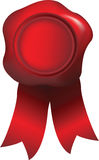 Rode bekrachtiging met waszegel Royalty-vrije Stock Foto's