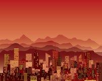 Rode bergenstad Royalty-vrije Stock Afbeeldingen