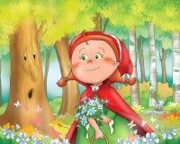 Rode berijdende kap met bloemen Royalty-vrije Stock Afbeelding