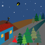 Rode berijdende kap, wolf en maanverduistering stock illustratie