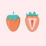 Rode bessenaardbei en de helft van aardbei, fruit royalty-vrije illustratie