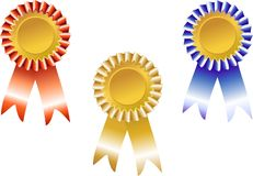Rode, blauwe en gouden toekenning Royalty-vrije Stock Afbeelding