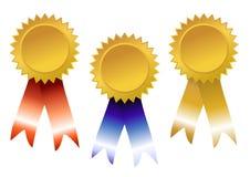 Rode, blauwe en gouden toekenning Stock Foto