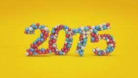 Rode, blauwe en witte gekleurde ballen die nummer 2015 vormen Royalty-vrije Stock Fotografie