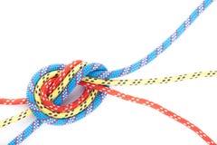 Rode blauwe gele kabelknoop Royalty-vrije Stock Afbeeldingen