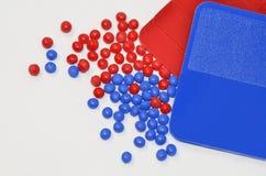 Rode/blauwe kleurensteekproeven royalty-vrije stock foto's