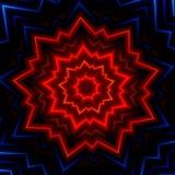 Rode blauwe lichte uitbarstingsflits Hete gloeiende stralen De laser toont effect Maakte vele sterren Glanzende Kerstmisfonkeling Stock Afbeelding