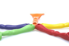 Rode, blauwe, oranje, gele, groene handvatten Stock Afbeeldingen