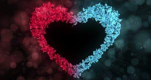 Rode Blauwe Rose Flower Petals In Heart-Vorm Alpha Matte Loop Placeholder 4k stock videobeelden