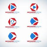 Rode blauwe Zeshoek en het embleem vectorontwerp van de pijlhoek Stock Afbeelding