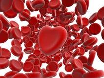 Rode bloedcellen en hart Stock Fotografie