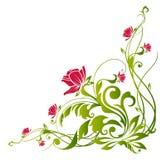 Rode bloem en groene wijnstokken stock illustratie