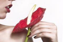 Rode bloem en rode lippen Stock Afbeelding