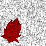 rode bloem op naadloze zwart-wit achtergrond Stock Afbeeldingen