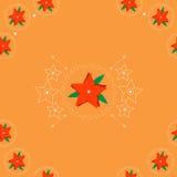 Rode bloemen op oranje achtergrond Stock Fotografie