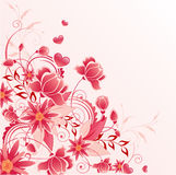 Rode bloemenachtergrond met ornament Royalty-vrije Stock Foto