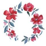 Rode Bloemenkroon De illustratie van de waterverf vector illustratie
