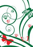 Rode bloesem met vlinder stock illustratie