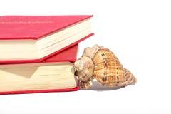 Rode boeken en shell Royalty-vrije Stock Foto's