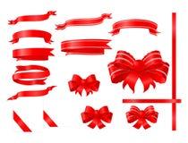 Rode bogen en linten Stock Afbeelding
