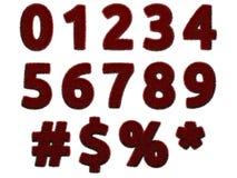 Rode bontcijfers en symbolen op witte achtergrond Geïsoleerde digitale illustratie het 3d teruggeven Stock Afbeelding
