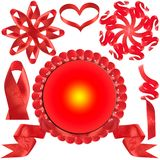 Rode boog, gift, de toekenning. Stock Foto's