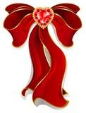 Rode boog met robijnrood hart Royalty-vrije Stock Foto