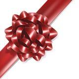 Rode boog met rood lint Stock Foto