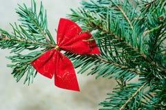 Rode Boog op Kerstboom Royalty-vrije Stock Afbeeldingen
