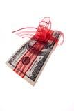 Rode Boog op Rekening $100 Royalty-vrije Stock Foto's