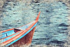 Rode boot in Semporna Sabah Borneo Malaysia Digitaal Art Impasto stock fotografie