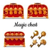 Rode borst drie met vier sloten en sleutels Vector illustratie royalty-vrije illustratie
