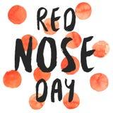 Rode borstelige ruwe de waterverfaffiche van de Neusdag Stock Afbeelding